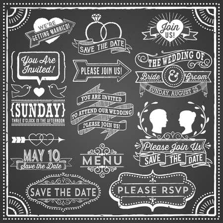 Illustration pour Chalkboard Wedding Invitation Elements - Retro and hand-drawn vintage chalkboard invitation elements.  File is layered, each object is grouped separately and colors are global for easy editing.  Texture can be removed. - image libre de droit