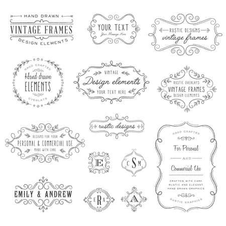 Illustration pour Rustic Frames Set - Rustic vintage frames and monograms set - image libre de droit