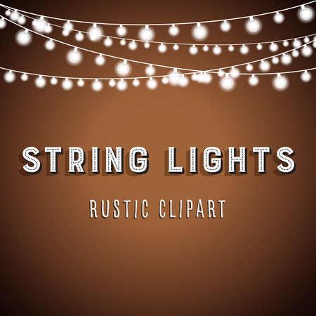 Illustration pour Rustic String Lights Background - Rustic String Lights Vector Clipart 10 - image libre de droit