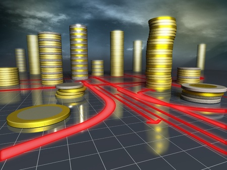 3d image of skyscrapers city made up of coins