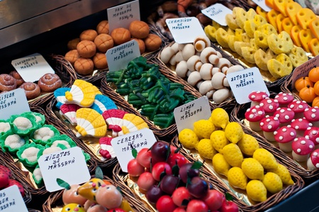 Assorted fruit-shaped marzipan in market