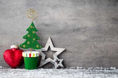 Gray metal background, Christmas decoration.