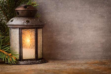 Photo for Lantern with christmas tree, Christmas decor. Greeting Card. - Royalty Free Image