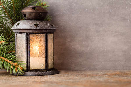 Photo for Lantern with christmas tree - Royalty Free Image