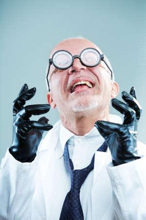 Crazy weird scientist exulting