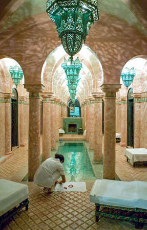 Marrakech, Morocco - March 27, 2006: The spa area of a Riad, a traditional hotel