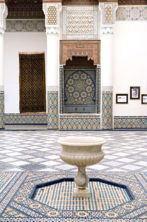Marrakech, Morocco - March 24, 2006: The courtyard of the city museum in the palace Gar Manebhi