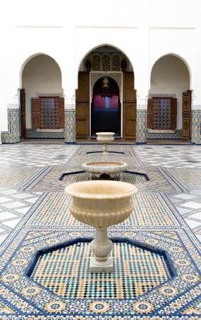 Marrakech, Morocco - March 24, 2006: The courtyard of the palace Gar Manebhi
