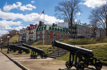 Quebec city, Canada - May 5, 2014: Guns in Governors promenade