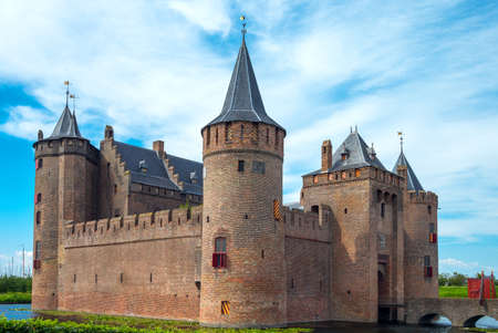 Muiden, Holland - July 24, 2014: Waterland district, the Amsterdam castle