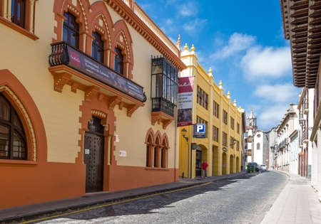 Tenerife, Spain - June 23, 2013: La Orotava, traditional colored houses in the old town center