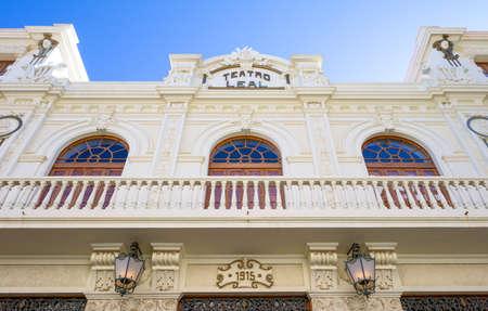 Tenerife, Spain - June 23, 2013: La Laguna, the facade of the old Leal theatre