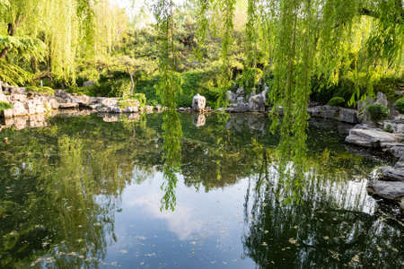 Foto de The park of Baotu Quan, also called the Best Spring in the World in the heart of Jinan city, Shandong, China - Imagen libre de derechos