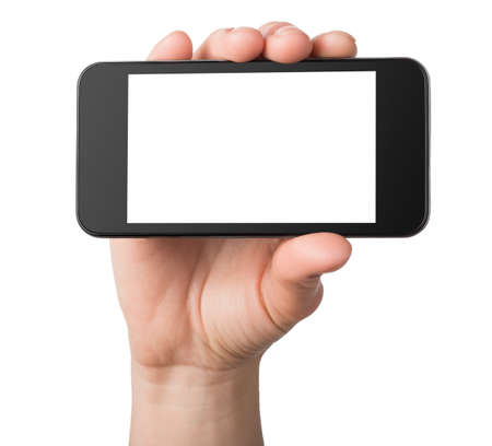 Black mobile phone isolated
