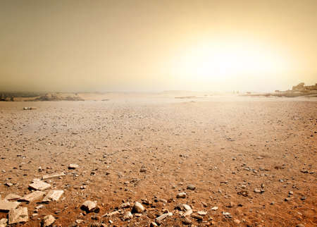 Foto de Sandy desert in Egypt at the sunset - Imagen libre de derechos