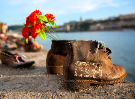 Photo for Shoes on embarkment of Danube - Royalty Free Image