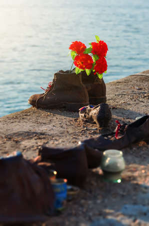 Photo for Memorial shoes on Danube - Royalty Free Image
