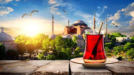 Photo for Tea and Hagia Sophia - Royalty Free Image