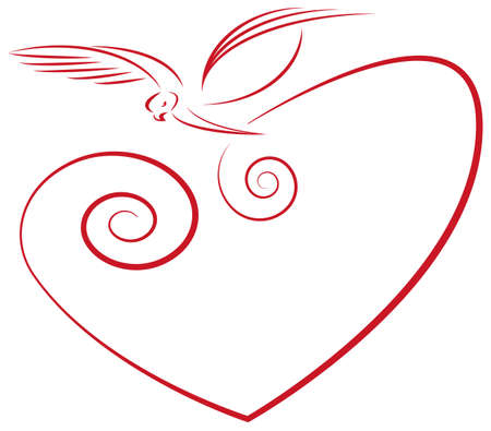 Love symbol- heart and dove