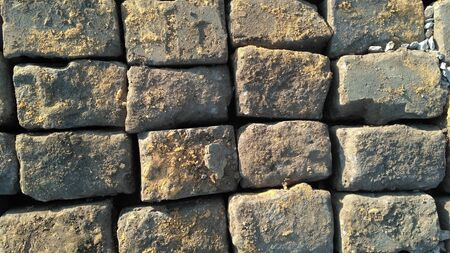 Photo for Stone pavement texture. Granite cobblestoned pavement background. Abstract background of old cobblestone pavement close-up. Prague. View from above. - Royalty Free Image