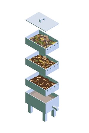 Illustration for Vermicomposting, striped worms that process organic waste from the kitchen, a selective approach. The ecological approach. Zero waste. Composting organic waste. Recycling garbage. Isometry - Royalty Free Image