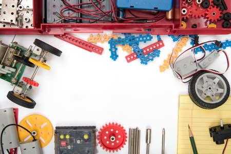 Foto de STEM or DIY science Kit set white background. - Imagen libre de derechos