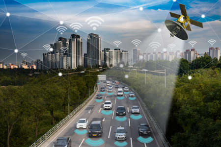 Photo for Smart car, Autonomous self-driving mode vehicle on metro city road IoT concept - Royalty Free Image