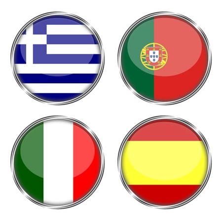 button flag of greece, portugal, italy, spain