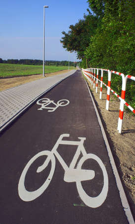 Asphalt bicycle path in Poland