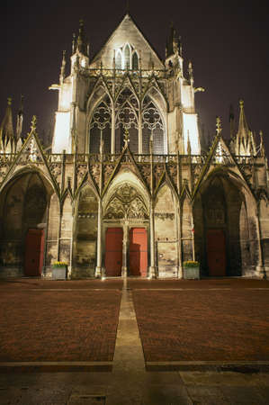 Gothic Saint-Urbain Basilica in Troyes at night, France