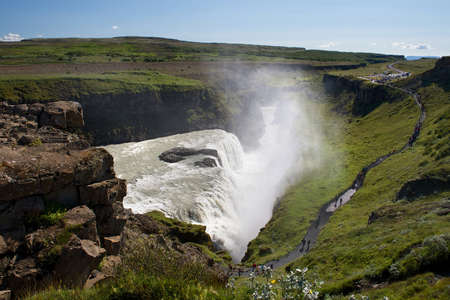 View of the sightseeing spot near Gullfoss (Golden falls) waterfall on a sunny summer day, Iceland