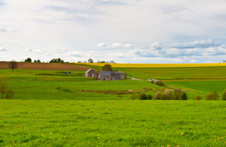 Green Pastures around Farm House in Belgium