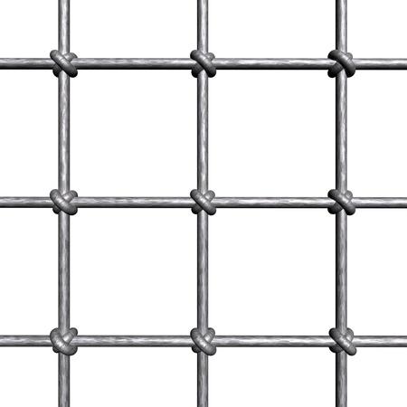 Metallic prison bars - isolated on white background