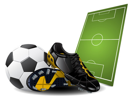 Soccer boots and ball. Football Background
