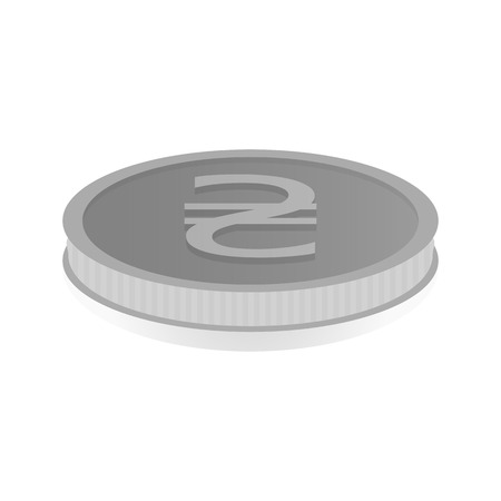 illustration of a silver coin with the symbol of the hryvnia.