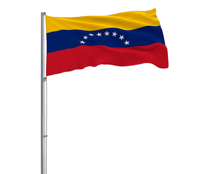 Flag of Venezuela on the flagpole fluttering in the wind on white background, 3d rendering