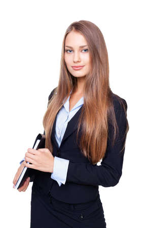 Portrait of young business woman with folder isolated on white background