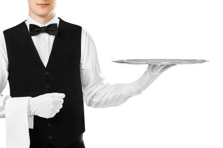 Photo pour Elegant waiter holding empty silver tray on hand isolated on white background - image libre de droit
