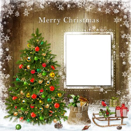 Christmas greeting card with Christmas tree and gifts