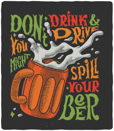 Illustration pour Lettering poster with beer drawing and funny text quote - image libre de droit