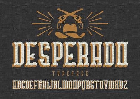 Photo pour Desperado typeface. Wild west style font with cowboy hat and two guns. - image libre de droit