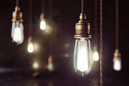 Photo for 3d render mockup loft scene with vintage copper electric lamps with smooth bokeh effect and grunge wall. - Royalty Free Image
