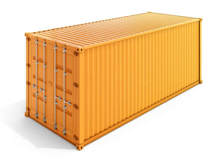 Photo pour 3d rendering of a yellow metal container isolated on white background - image libre de droit