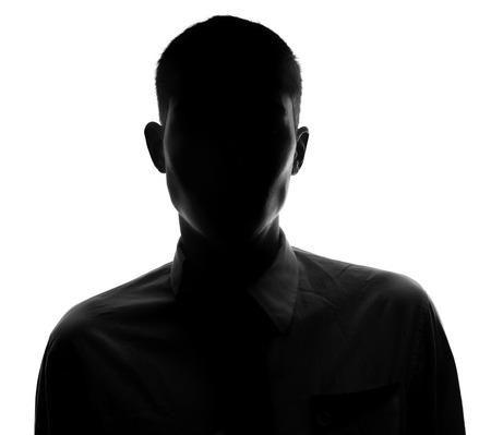 Photo pour Unknown  male person silhouette Back lit studio isolated - image libre de droit