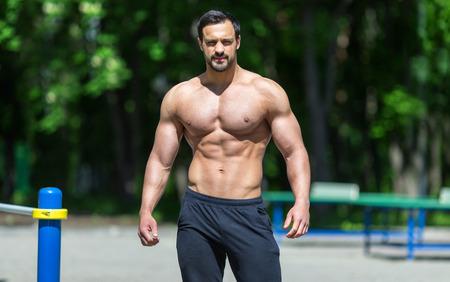 Male fitness model posing