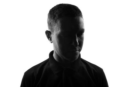 Photo pour Male person silhouette over white - image libre de droit