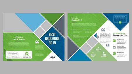 Illustration for Corporate Bi-fold Brochure Template - Royalty Free Image