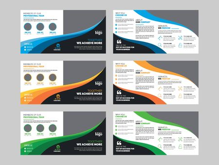 Illustration pour Square Bifold Brochure Design Template for any type of corporate use - image libre de droit