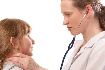 Female doctor examining child, isolated