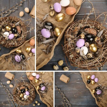 Photo for Different size Painted colored Eggs And Feathers For Easter on dark wooden background. Boho stile. Alternative decoration. Collage of four images. - Royalty Free Image